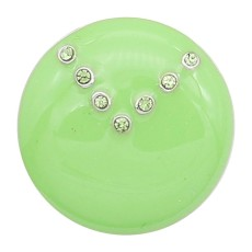 20MM snap silver Plated with Planned green enamel and Rhinestone KC8294