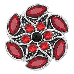 20MM snap silver Plated with Red Rhinestone KC8286