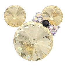 Broche de dibujos animados de 20 mm plateado con encantos de diamantes de imitación amarillos KC8299