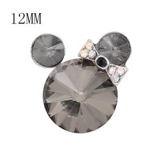 12MM Cartoon Snap Versilbert mit grauen Strass Charms KS7183-S