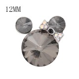 12MM Cartoon snap Silver Plated with gray Rhinestone charms KS7183-S