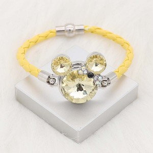 20MM Cartoon snap Silver Plated with yellow Rhinestone charms KC8299