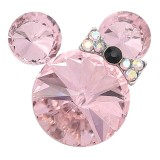 20MM Cartoon snap Silver Plated with Pink Rhinestone charms KC8300