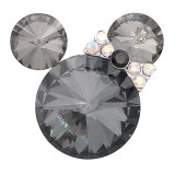 20MM Cartoon snap Silver Plated with gray Rhinestone charms KC8298