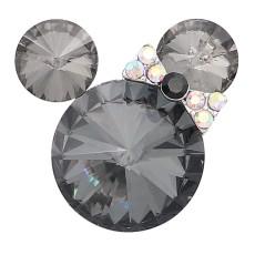 Broche de dibujos animados de 20 mm plateado con encantos de diamantes de imitación grises KC8298