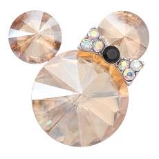 Broche de dibujos animados de 20 mm plateado con encantos de diamantes de imitación naranjas KC8301