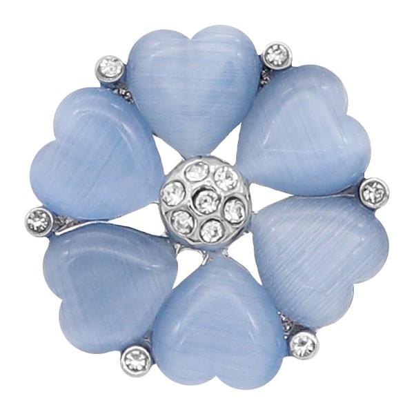 Broche de 20 mm plateado con corazón azul KC8295