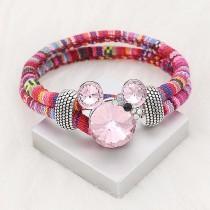 Broche de dibujos animados de 20 mm plateado con encantos de diamantes de imitación rosa KC8300