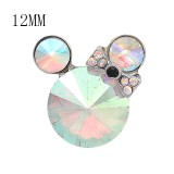 12MM Cartoon snap Silver Plated with opal color Rhinestone charms KS7184-S