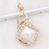 Chapado en oro de 20 mm chapado con diamantes de imitación blancos Perla KC8303