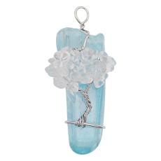 Natürlicher Kristallbaum des Lebens Silber Anhänger der Halskette Hellblau
