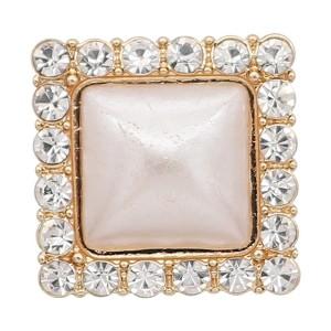 20-миллиметровое золото с позолотой, покрытое белым жемчугом со стразами KC8303