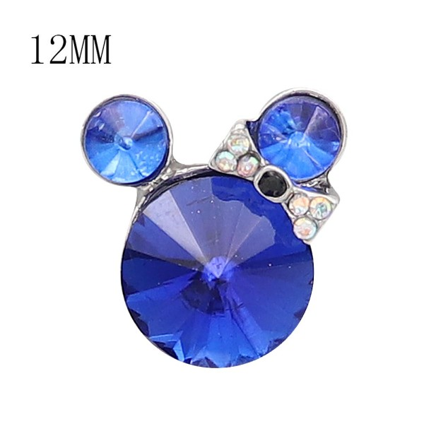 12MM Cartoon snap Silver Plated with blue Rhinestone charms KS7189-S