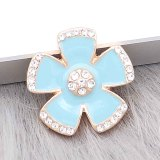 20MM snap gold Plated plated blue enamel with rhinestone  KC8307