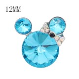 12MM Cartoon snap Silver Plated with blue Rhinestone charms KS7186-S