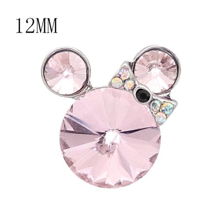 12MM Cartoon snap Silver Plated with Pink Rhinestone charms KS7185-S
