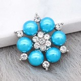 20MM snap silver Plated with Blue Pearl  KC8305