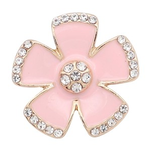 20MM snap gold Plated plated Pink enamel with rhinestone  KC8306