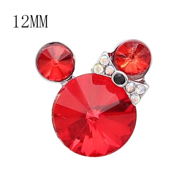 Broche de dibujos animados de 12 mm plateado con dijes de diamantes de imitación rojos KS7187-S