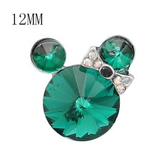 12MM Cartoon snap Silver Plated with green Rhinestone charms KS7188-S
