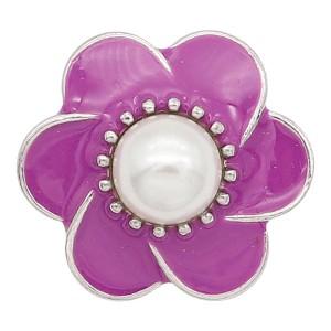 20MM Кулон с цветочной оснасткой, покрытый перламутровой и фиолетовой эмалью