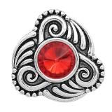 Astilla de diseño 20MM plateada con diamantes de imitación rojos KC6589 broches de joyería
