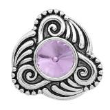 20MM design snap sliver plaqué avec strass violet KC6590 s'encliquette bijoux