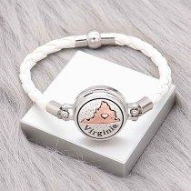 Bracelets en cuir blanc KC0536 fit 20mm s'enclenche chunks bouton 1