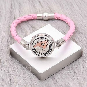 Bracelets en cuir rose KC0538 fit 20mm s'enclenche chunks bouton 1