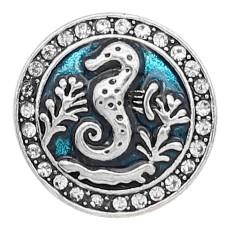 20MM Hippocampes et émail snap sliver Plaqué KC6620 snaps bijoux