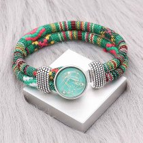 Multicolour cloth Snap bracelets KC0549 fit 20mm snaps chunks 1 button