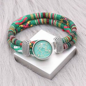 Bracelet en tissu multicolore KC0549 fit 20mm s'enclenche chunks bouton 1