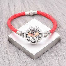 Red Leather Snap bracelets KC0534  fit 20mm snaps chunks 1 button