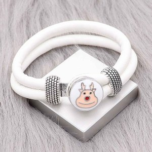 White Leather Snap Armbänder KC0543 fit 20mm Snaps Chunks 1-Taste