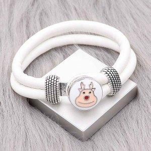 ホワイトレザースナップブレスレットKC0543フィット20mmスナップチャンク1ボタン