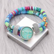 Bracelet en tissu multicolore KC0550 fit 20mm s'enclenche chunks bouton 1
