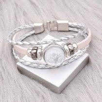 Bracelets en cuir argenté KC0531 fit 20mm s'enclenche chunks bouton 1