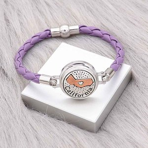 Purple Leather Snap bracelets KC0539  fit 20mm snaps chunks 1 button