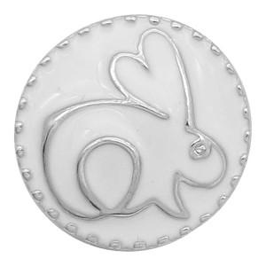 20MM Little Rabbit Snap Sliver Überzogen mit weißem Emaille KC6613snaps Schmuck
