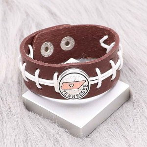 Baseball braun Leder Snap Armbänder KC0557 fit 20mm Snaps Chunks 1-Taste