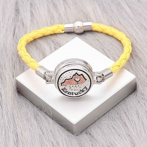 Yellow Leather Snap bracelets KC0541 fit 20mm snaps chunks 1 button