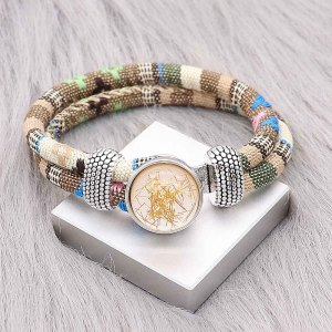 Bracelet en tissu multicolore KC0553 fit 20mm s'enclenche chunks bouton 1