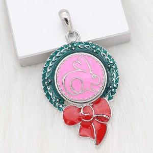 20MM Маленький кролик каучуковая лента с покрытием из розовой эмали KC6616snaps jewelry