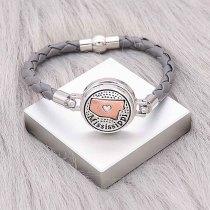 Bracelets en cuir gris KC0537 fit 20mm s'enclenche chunks bouton 1