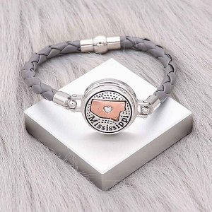 Grey Leather Snap Armbänder KC0537 fit 20mm Snaps Chunks 1-Taste