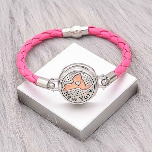 Bracelets en cuir rose KC0533 fit 20mm s'enclenche chunks bouton 1
