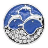 20MM Delfine mit Emaille Eingebettet in Strasssteine und blauen Emaille-Splittern Überzogener KC6618-Snaps-Schmuck