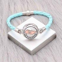 Bracelets en cuir bleu KC0540 fit 20mm s'enclenche chunks bouton 1