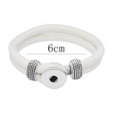 Bracelets en cuir blanc KC0543 fit 20mm s'enclenche chunks bouton 1