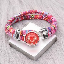 Bracelet en tissu multicolore KC0552 fit 20mm s'enclenche chunks bouton 1
